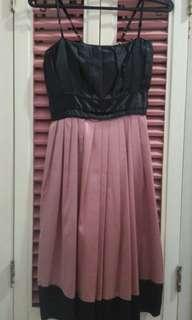 Black & pink silk dress