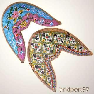 Old Unused Straits Chinese Peranakan Nonya Beadwork Shoe Face Samples, (2)