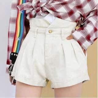 Oatmeal Denim Shorts