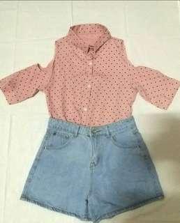 🚚 氣質雪紡削肩粉色襯衫 超仙超氣質!#半價衣服拍賣會