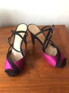 Charles and Keith purple red high heel shoe