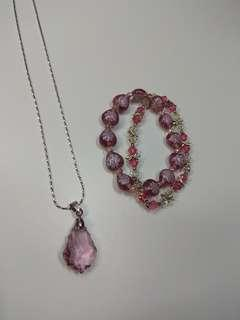 Pink SET necklace & bracelet