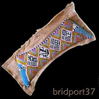 Old Unused Straits Chinese Peranakan Nonya Beadwork Shoe Face SampleA