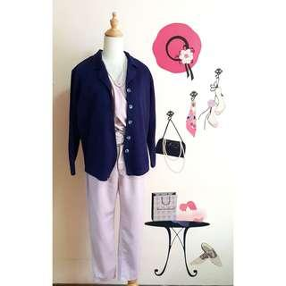 Navy blue collared cardigan