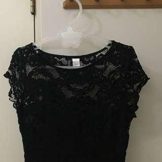 ♡H&M典雅黑色蕾絲洋裝
