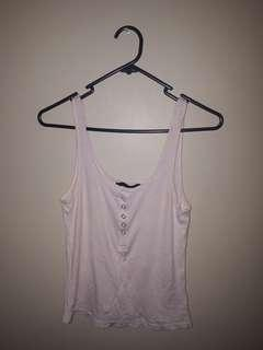Pale pink, button up singlet top