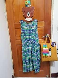 日系格紋長洋裝