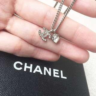 AUTHENTIC CHANEL Heart Diamante Rhinestones Necklace