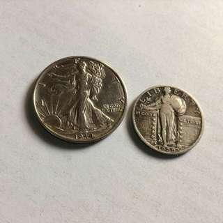 Standing Liberty and Walking Liberty Silver Half and Quarter Dollar