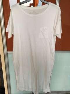Muji White Drop Shoulder T-Shirt Tunic M-L