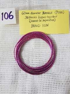 60mm diameter BANGLE (PINK).   30 pieces looped together and cannot be separated.   BRAND NEW