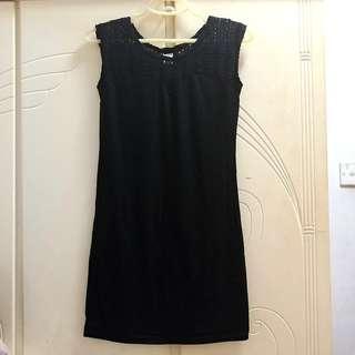 🌟 清屋 ! 包平郵 ! 韓國 全新 貼身 黑色 連身裙 斯文裙 Party dress