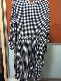 Oversized Blue Check Flannel Dress M