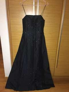 Black Evening Dress Ballgown Silk and Sequins