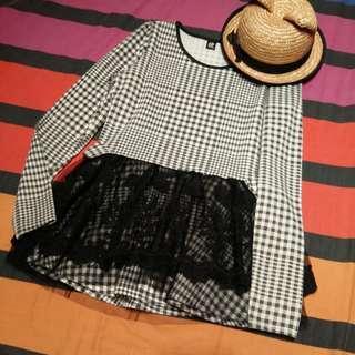 Black & White Japanese Gothic Lolita Dress-Shirt