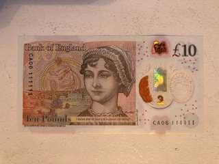New 10£ first Solid CA06 111111
