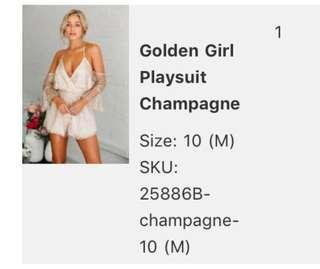 HelloMolly Golden Girl Playsuit Champagnr