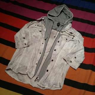 Japanese White Coat w/ Detachable Hoodie