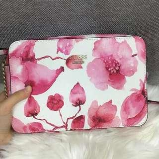 GUESS Women's Watercolour Flower Sling Bag With Dust Bag