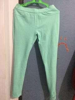 Teal Pants with design on ankle