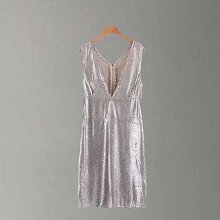 Sequin mixed inlay Low V neckline Dress