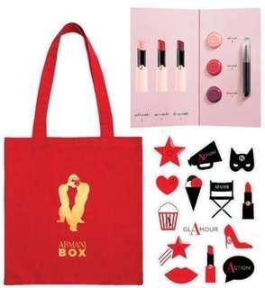 Armani red box - tote bag, sticker, lip