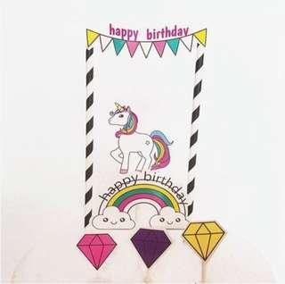 New unicorn Cake Topper decoration birthday party cake pony