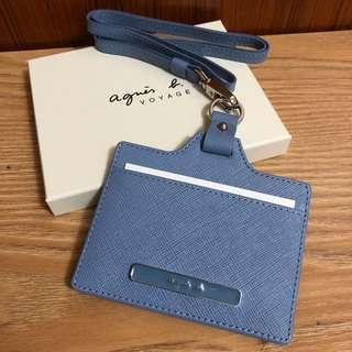 全新 agnes b. 藍紫色 薰衣草藍 防刮 證件夾 證件套 卡夾 識別證 車票夾 吊牌 附背帶 保證真品 正品 日本限定