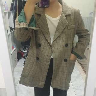 咖啡色格紋西裝外套實穿