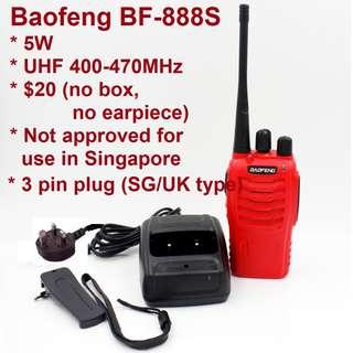 🚚 🚗 F1 promotion! 🚗 💕 $20/pc 💕, limited stock, bulk package (no box), BaoFeng 5W BF-888S Walkie Talkie UHF 400-470MHz Two Way Radio long range 3pin charger 777 666 Convoy long range Red color