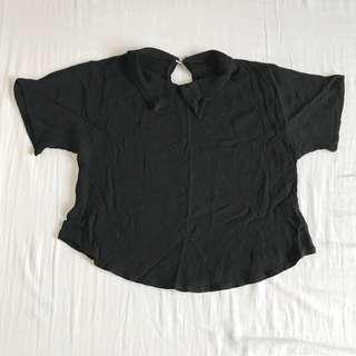 Black Collared Cropped Top