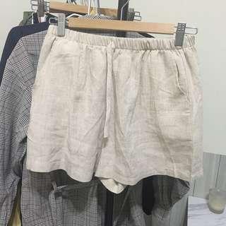 杏色棉麻短褲