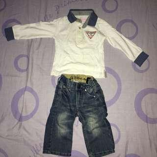 guess • long-sleeved polo + denim pants (kids)