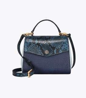 Tory Burch mixed material top handle satchel