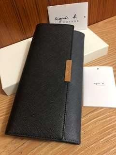 全新 agnes b. 黑色 灰色 扣式 防刮 撞色 雙色 真皮 長夾 信封 牛皮 女用 保證真品 正品 皮夾 薄型