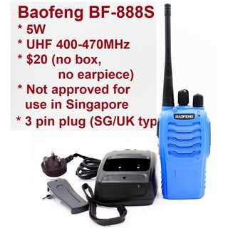 🚚 🚗 F1 promotion! 🚗 💕 $20/pc 💕, limited stock, bulk package (no box), BaoFeng 5W BF-888S Walkie Talkie UHF 400-470MHz Two Way Radio long range 3pin charger 777 666 Convoy long range Blue color