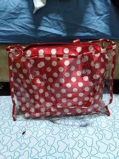 Red Pokka Dots 2 way transparent bag