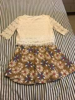 Lace top & floral skirt