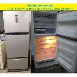 Toshiba (420L) 3doors big refrigerator / fridge ($250 + free delivery and 2mths warranty)