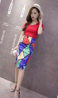 🚚 Abstract watercolor A line straight cut back zip midi skirt