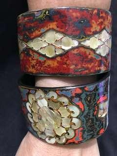 Ethnic designer  mother of pearl wood bracelets
