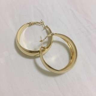 Vintage Retro Gold Circular Hoops Earrings