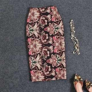 🚚 Abstract floral A line straight cut midi office skirt