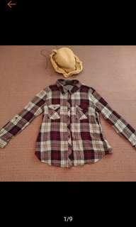 🚚 ALI KRIS 藍白紅 格紋 個性風 純棉 合身 格子襯衫