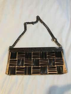 Chanel Satin Bead Metal Frame Clutch Bag