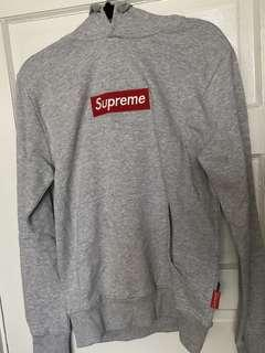 Supreme Red Box Logo Grey Hoodie Size M
