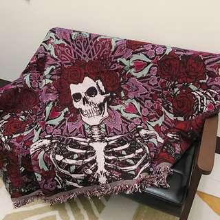 🚚 全新☠️ 黑暗 遙滾 玫瑰 骷顱 沙發布 沙發毯 毛毯 墊
