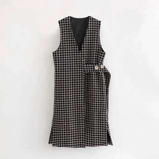 Mix Tweed checkered Wrap Long vest
