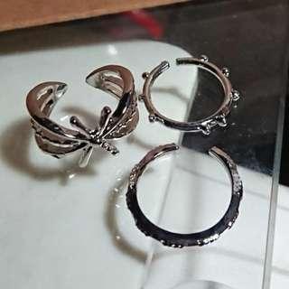 (set of 3) 100%new 星星戒指 銀色簡約介子 一套三隻 silver color rings