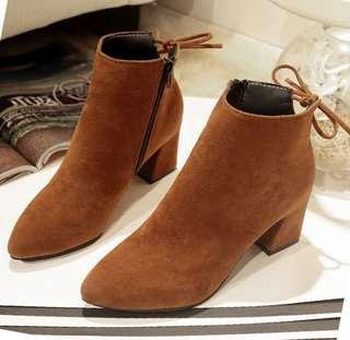*Free postage Ankle boots chunky heel zipper lace-up suede
